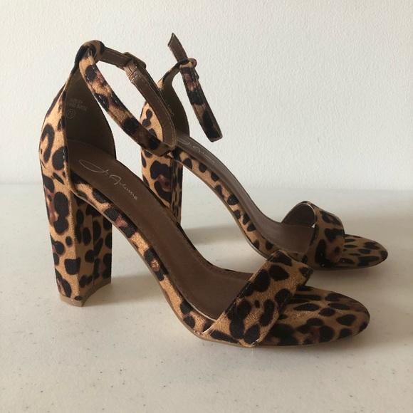 J Adams Shoes - Leopard Print Block Heels Size 7.5